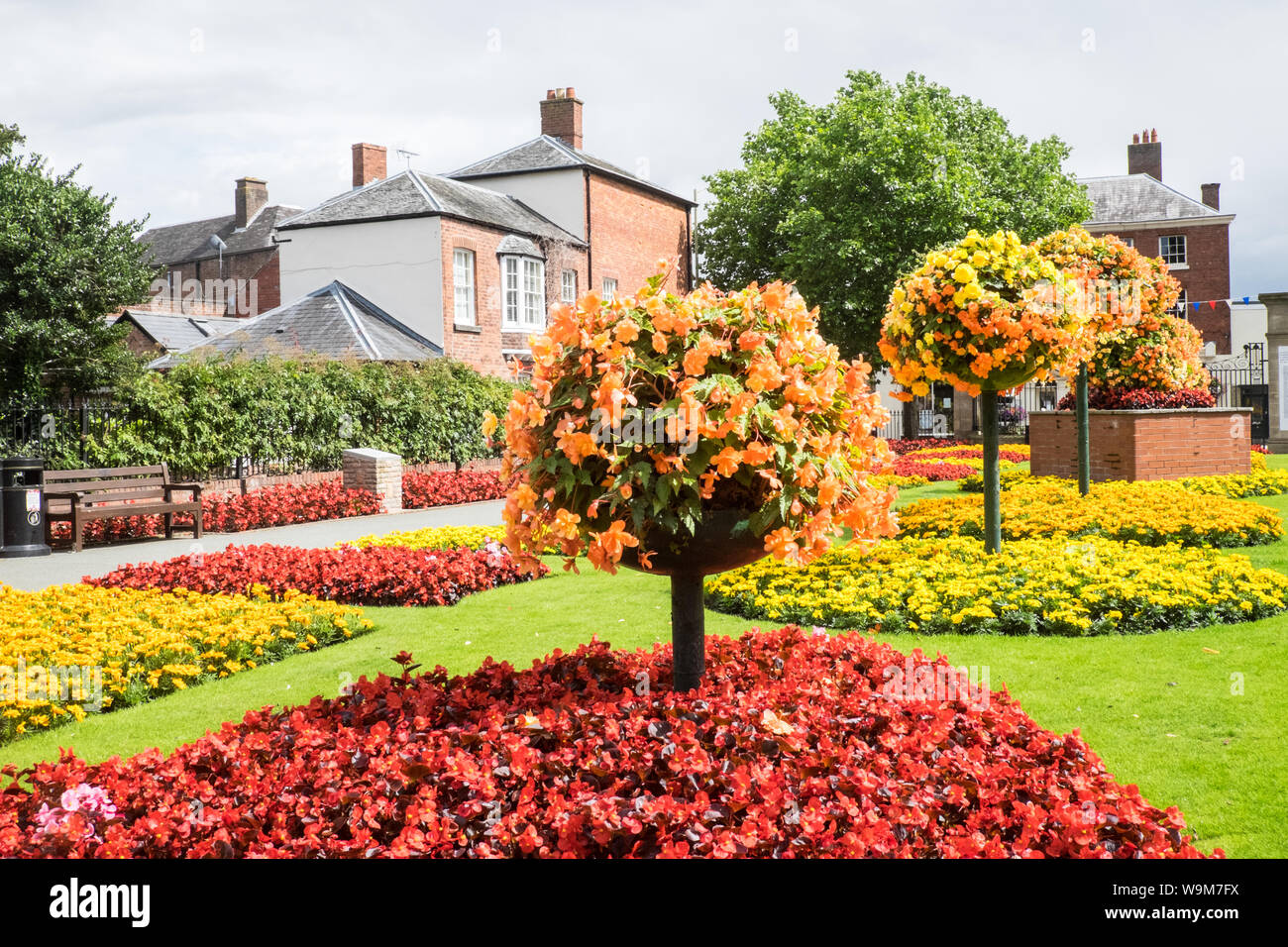 Colourful,colorful,floral,display,plants,flowers,at,Cae Glas Park,Oswestry,a,market,town,in,Shropshire,border,of, Wales,England,GB,UK, Stock Photo