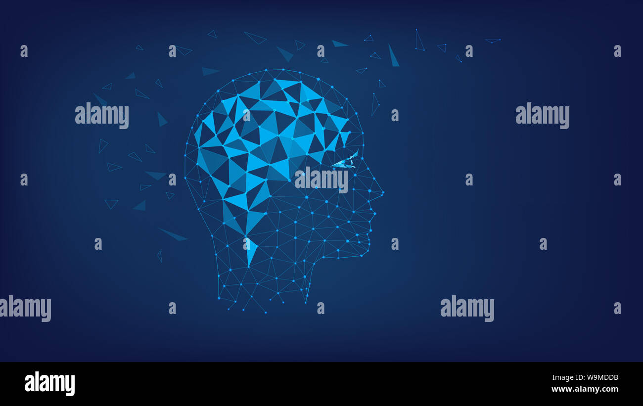 Silhouette of polygonal head and brain. Polygonal illustration of triangles and points. Concept of thinking human, visualization of process of thinkin Stock Photo