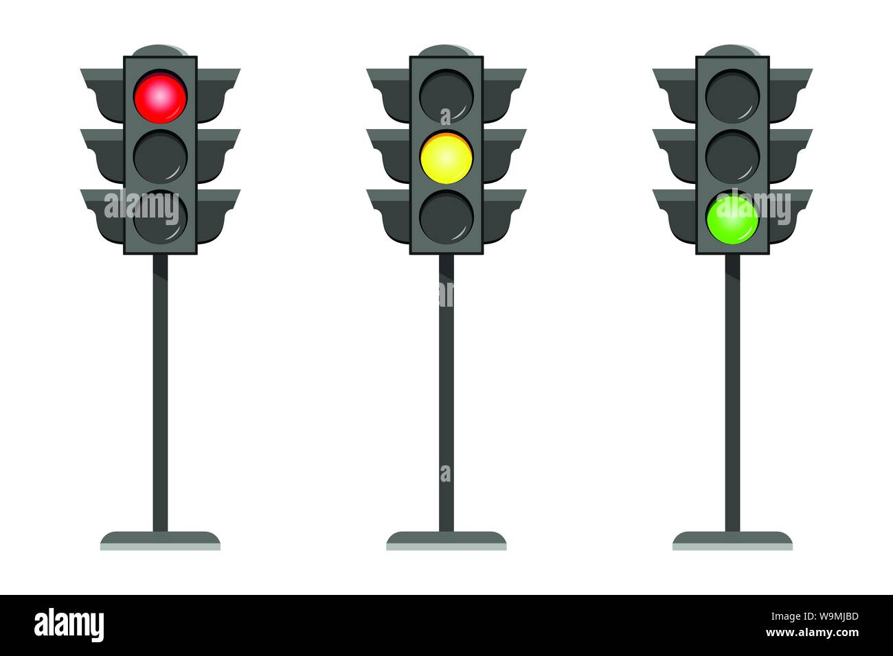 Vector concept traffic light interface icons flat design illustration set isolated on white background Stock Vector
