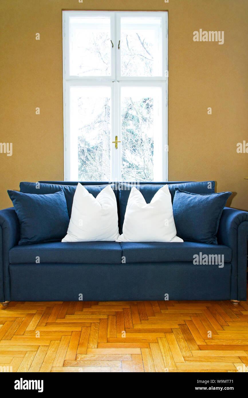 Admirable Interior Of Living Room With Blue Sofa Part Stock Photo Creativecarmelina Interior Chair Design Creativecarmelinacom