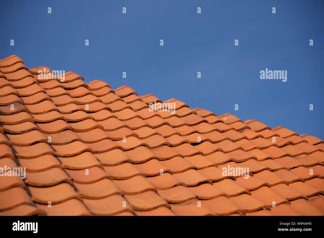 Terracotta roof tiles: old terracotta roof tiles removed, pressure-washed and replaced on the roof of a rural French house Stock Photo