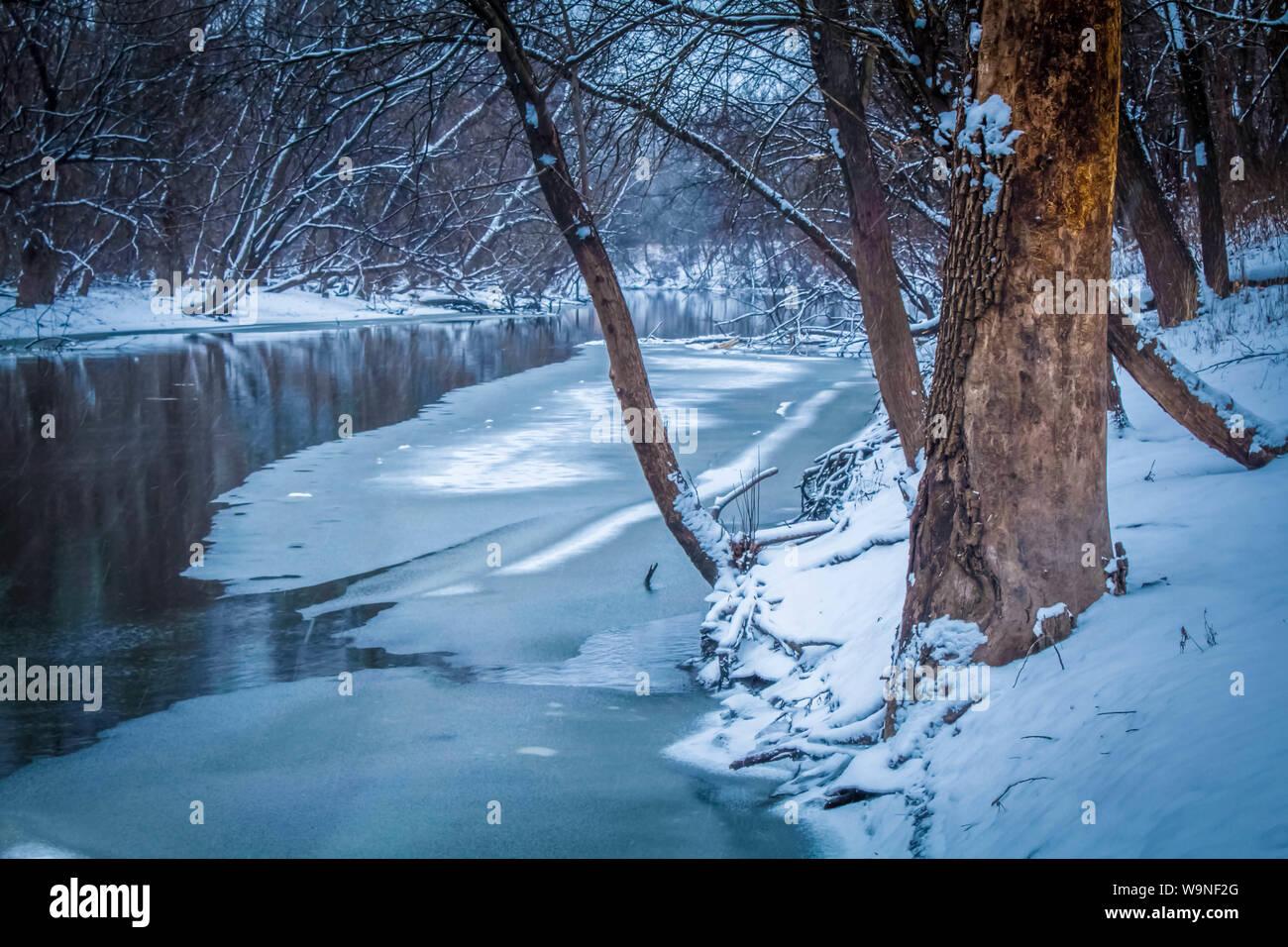 Frozen Des Plaines River Landscape Stock Photo