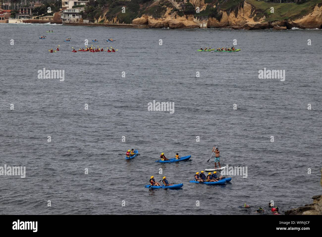 Colorful Kayaks At La Jolla Cove San Diego Stock Photo