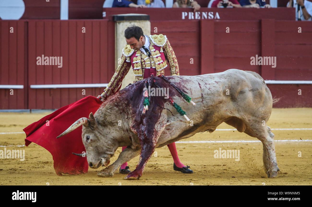 August 14, 2019: 14 augut 2019 (Malaga)Inaugural bullfight of the 145th anniversary of the bullring of La Malagueta,(Malaga) In the photo the torero Enrique Ponce. Credit: Lorenzo Carnero/ZUMA Wire/Alamy Live News Stock Photo