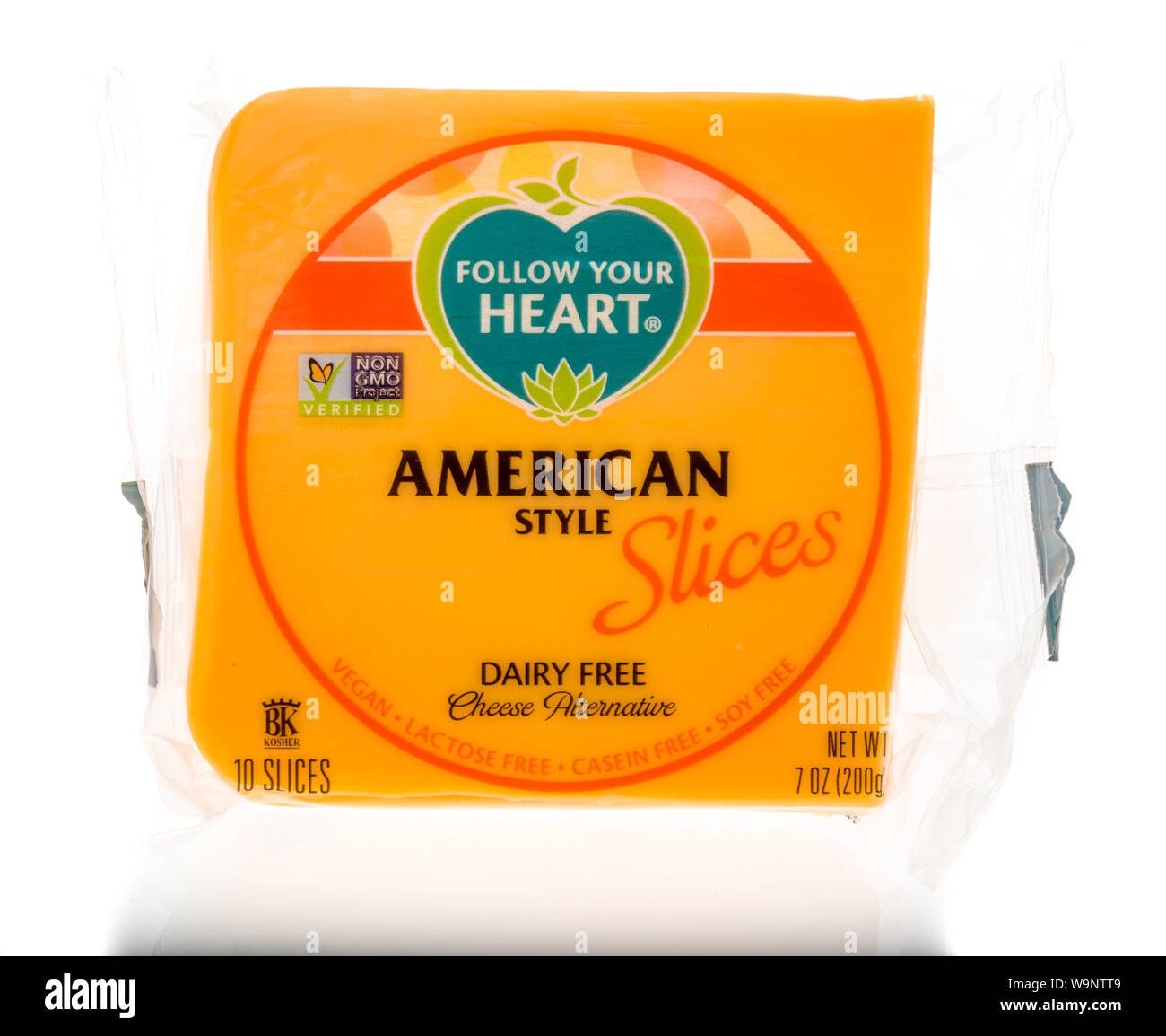 Winneconne, WI - 14 August 2019 : A package of Follow your heart american style slices vegan cheese on an isolated background Stock Photo