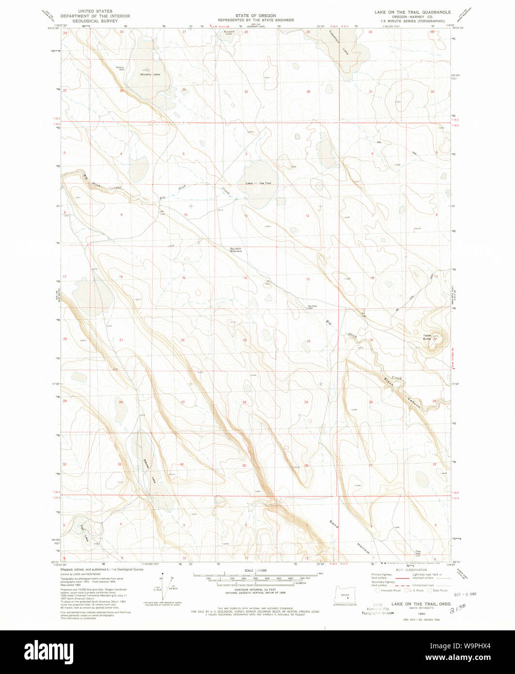USGS Topo Map Oregon Lake on The Trail 280438 1980 24000