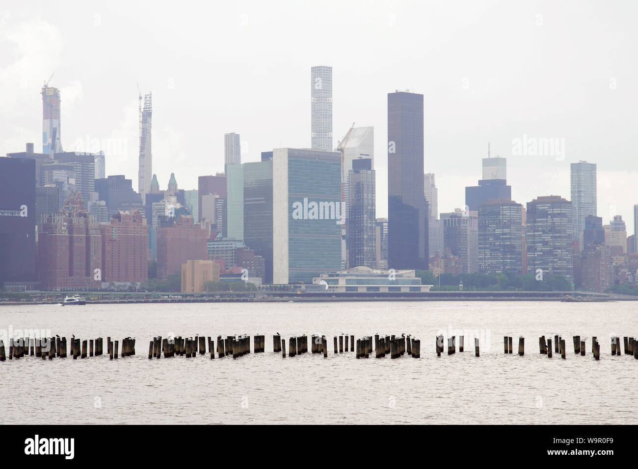 Panoramic view over Manhattan from Greenpoint, New York City, USA. Stock Photo