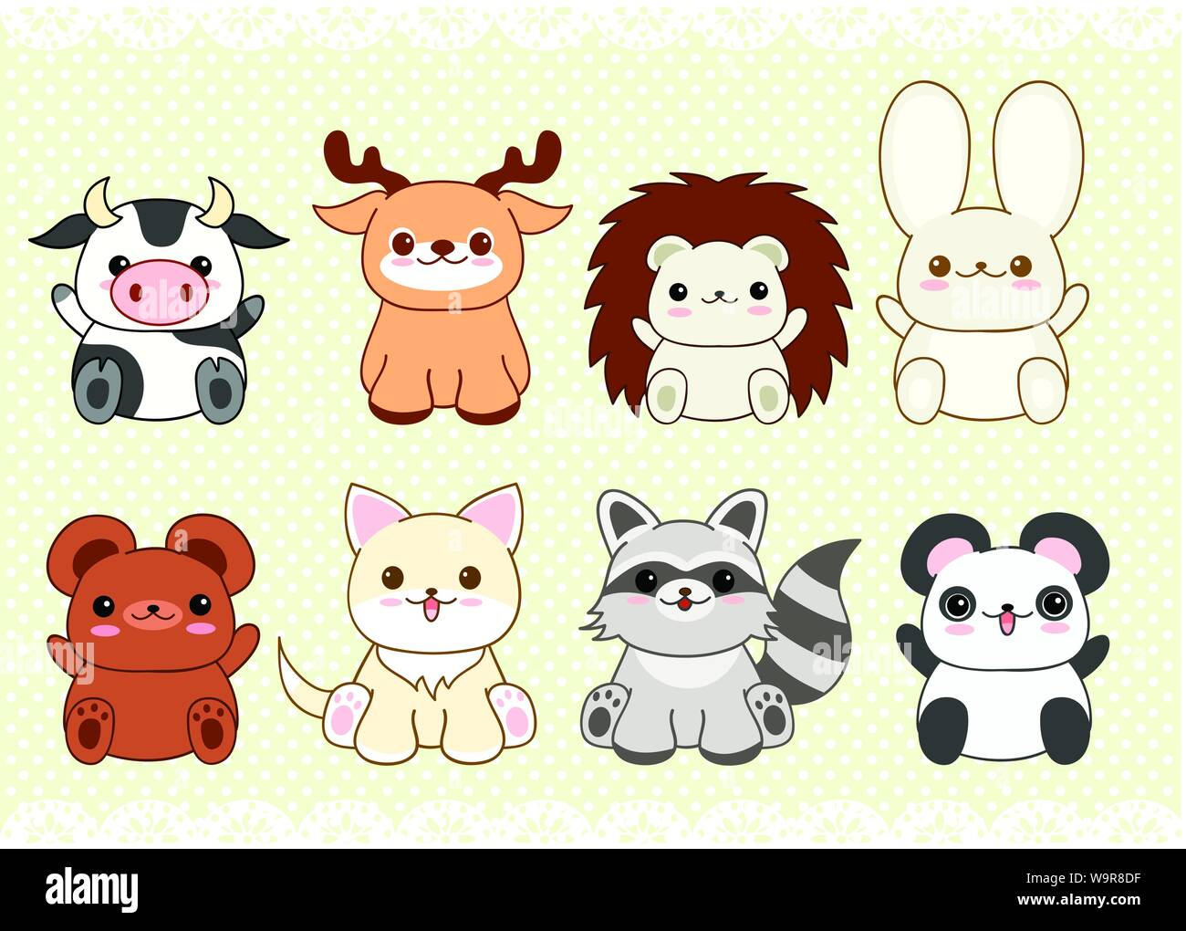 Collection Of Cute Baby Animals In Kawaii Style Cat Rabbit Panda Hedgehog Raccoon Deer Bear Cow On Retro Background With Dots Pattern And Lac Stock Vector Image Art Alamy