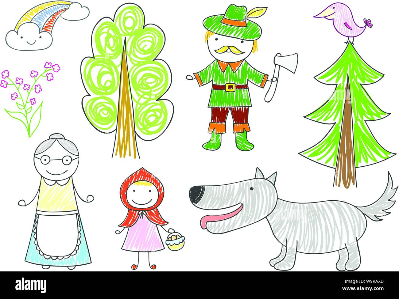Vector Sketches With Characters Of Little Red Riding Hood Fairy