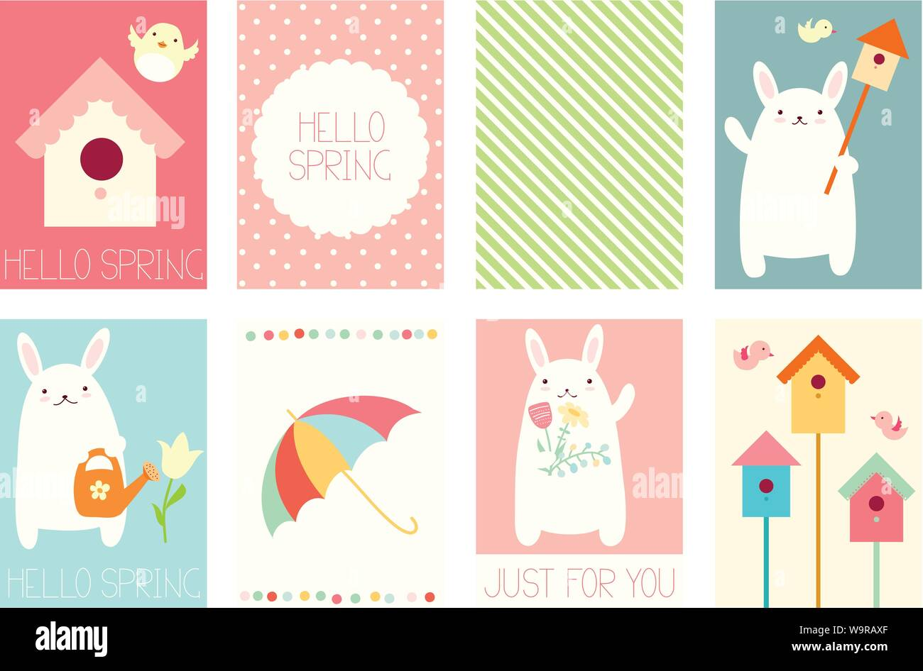 Collection Of Springtime Banner Background Flyer Placard In Hand Drawn Style With Cute Bunny And Bird Holiday Poster For Scrapbooking Vector Temp Stock Vector Image Art Alamy