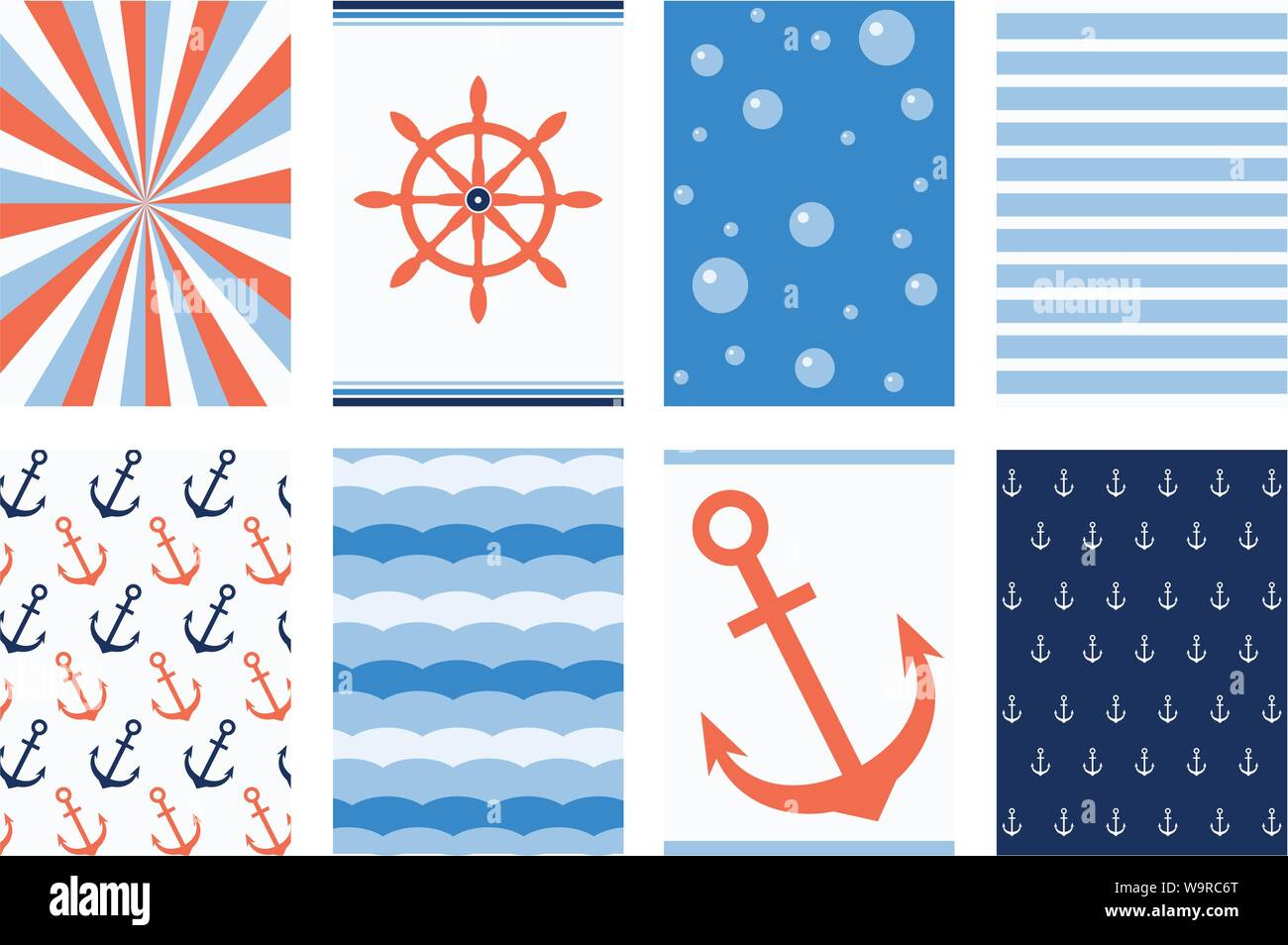 Set Of Banner Background Flyer Placard Sticker Poster For Scrapbooking In Marine Style With Strip Pattern Wheel Anchor Vector Template Card Fo Stock Vector Image Art Alamy