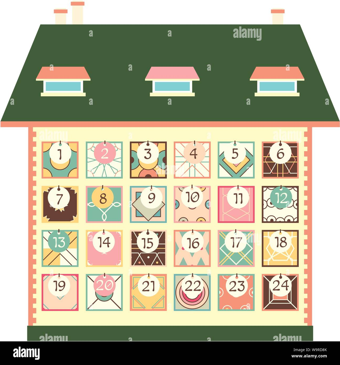 Christmas advent calendar with house and square patchwork icons with numbers in retro style. Merry Christmas design. EPS8 Stock Vector