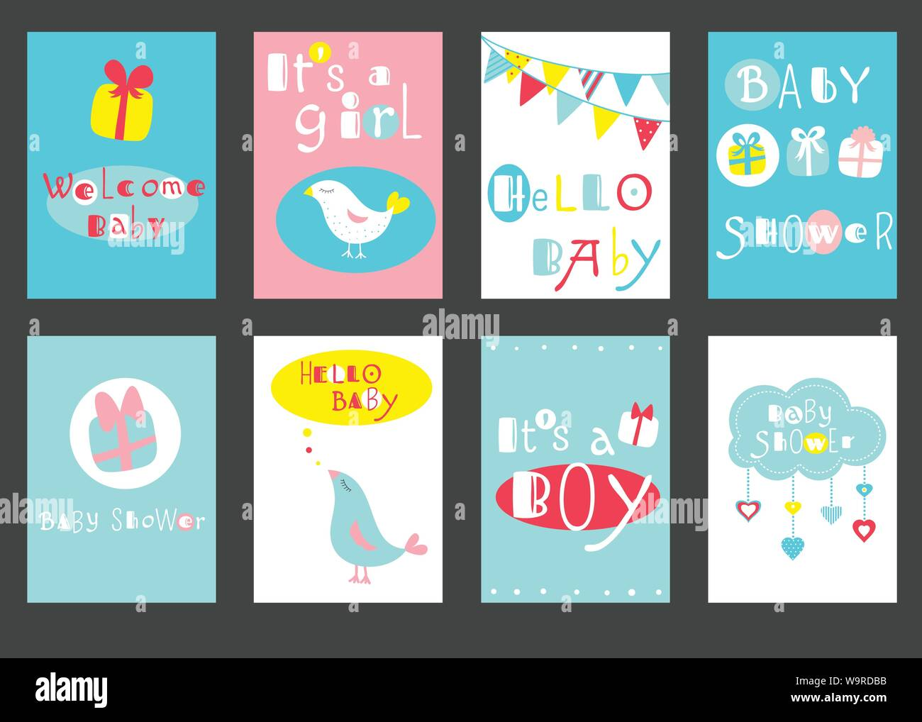 Collection Of Birthday Banner Background Flyer Placard With Cute Birds Baby Shower Labels Set For Scrapbooking Vector Template Card For Greeting Stock Vector Image Art Alamy