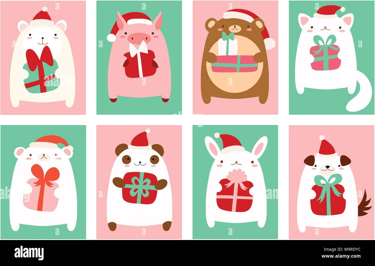 Christmas Banner Background Flyer Placard With Cute Animals Holiday Poster For Scrapbooking Vector Template Card For Greeting Decoration Congra Stock Vector Image Art Alamy