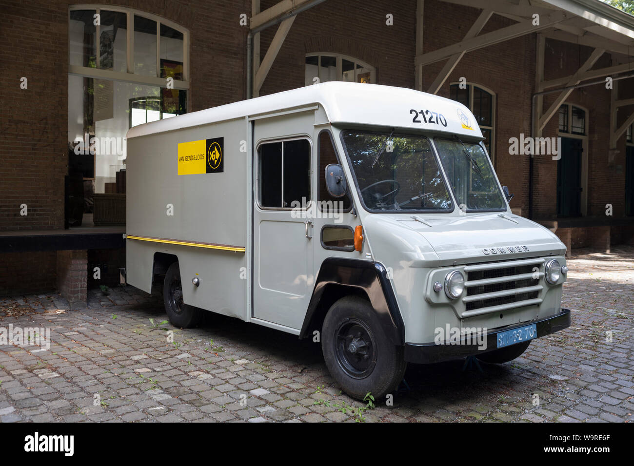 "Vintage historical delivery van belonging to former ""Van Gend & Loos"" company at open air museum Arnhem in the Netherlands Stock Photo"