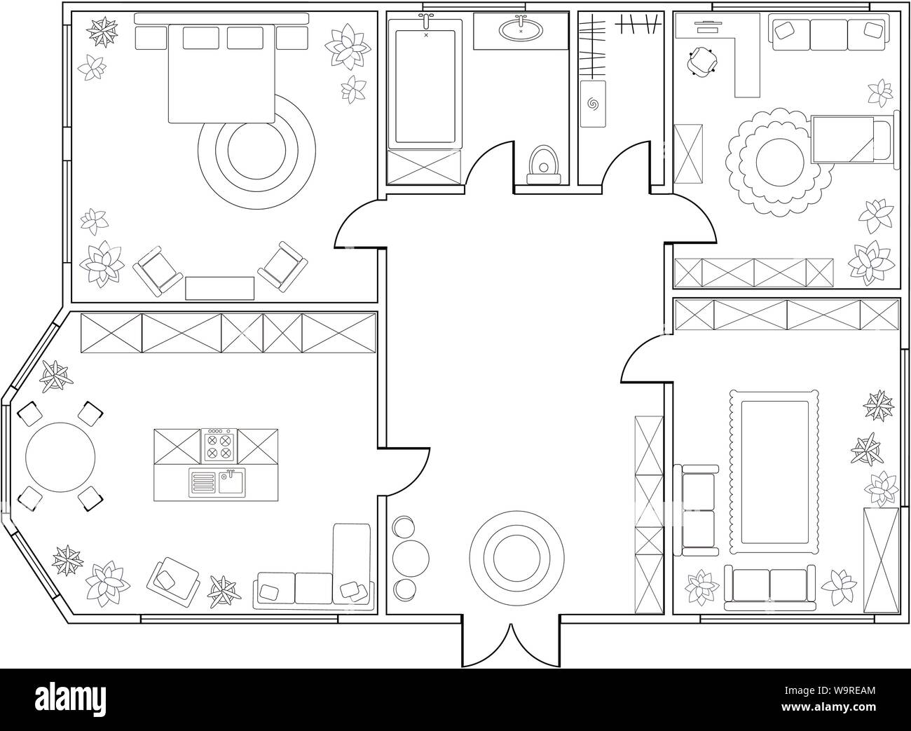 Abstract vector plan of two-bedroom apartment, with kitchen, bathroom,  bedroom, living room, dining room, library. EPS8 Stock Vector