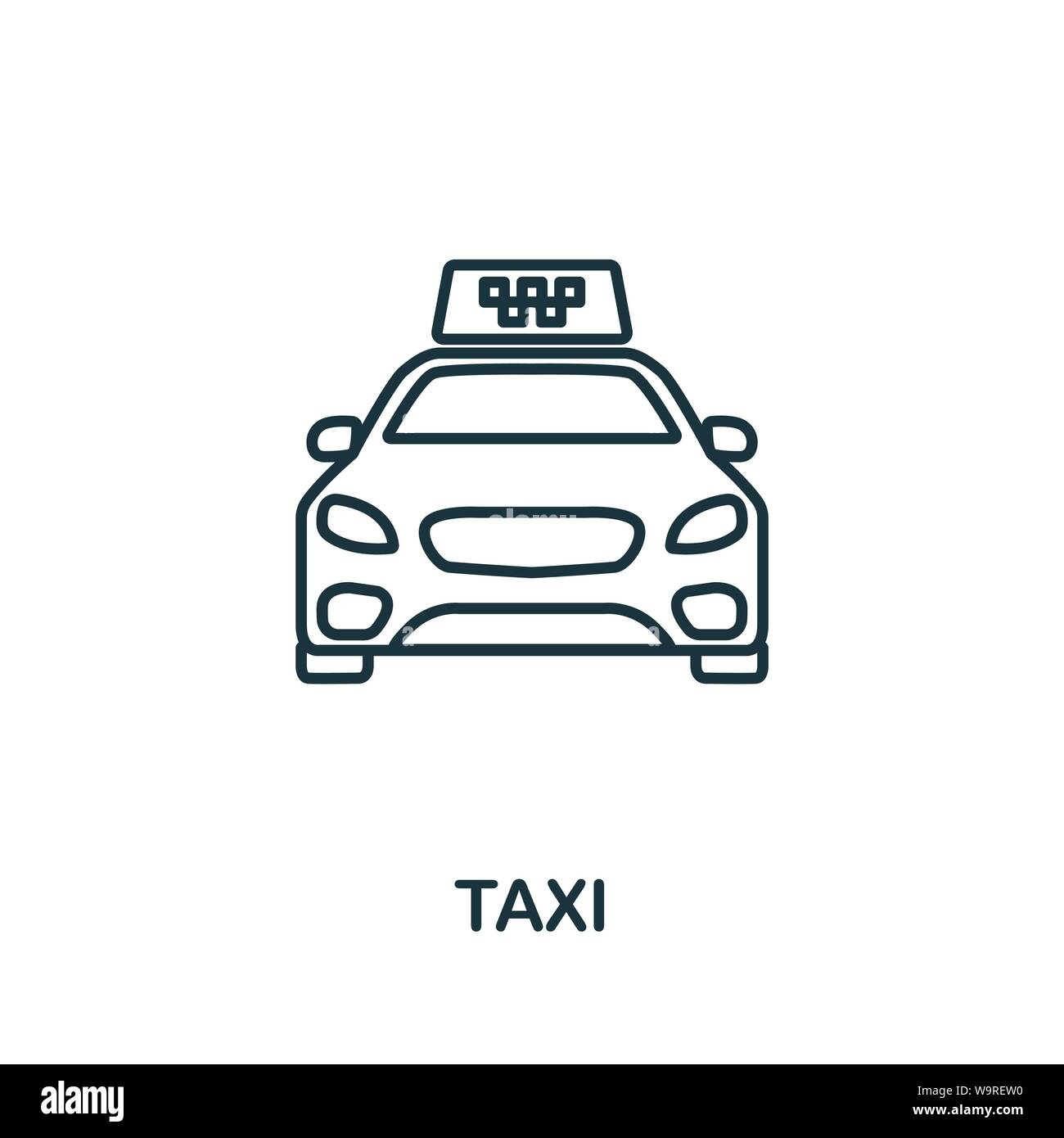 Taxi outline icon. Thin line concept element from tourism icons collection. Creative Taxi icon for mobile apps and web usage Stock Vector