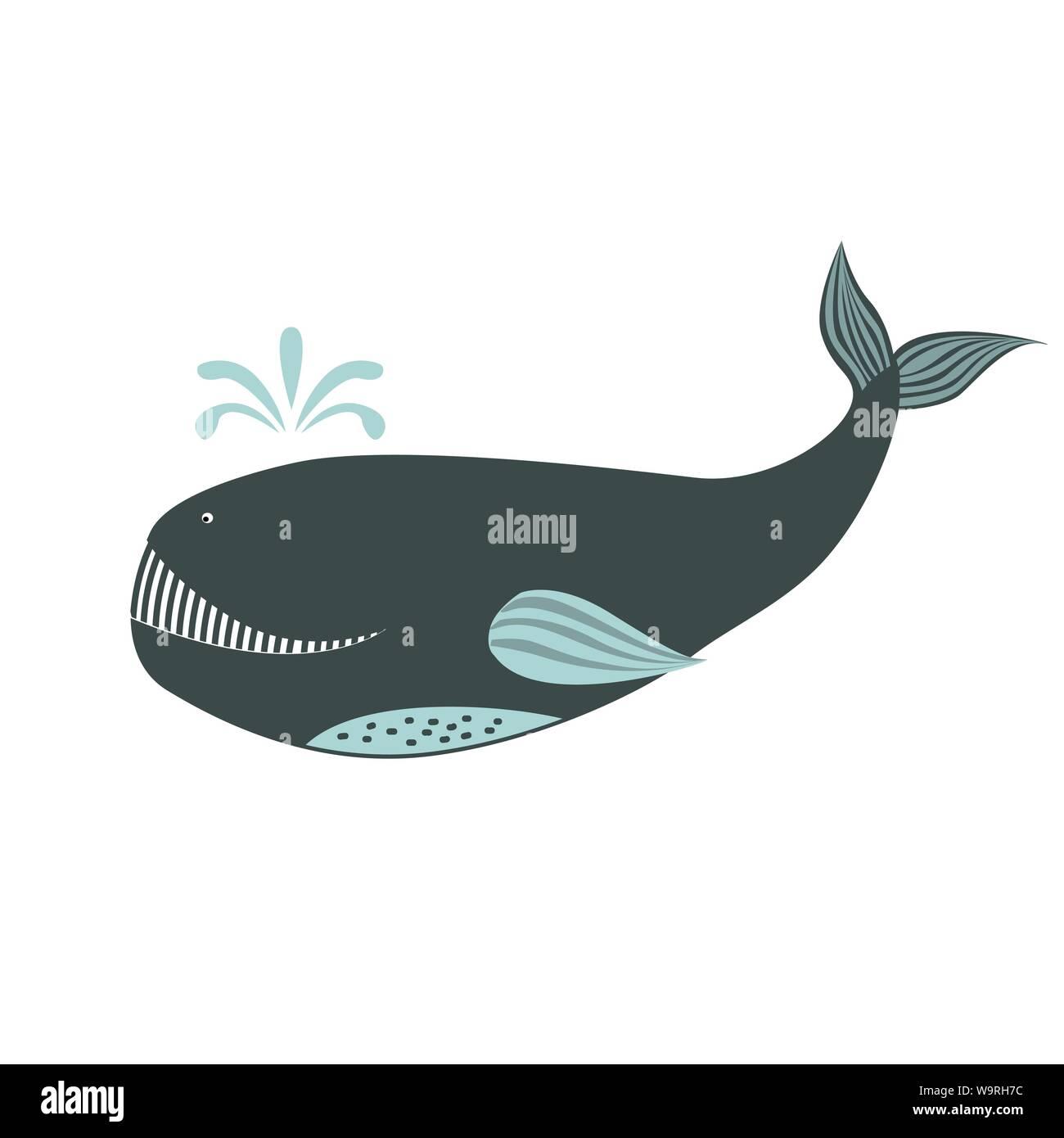 Vector cute cartoon whale isolated on white background. Sea animal vector illustration Stock Vector