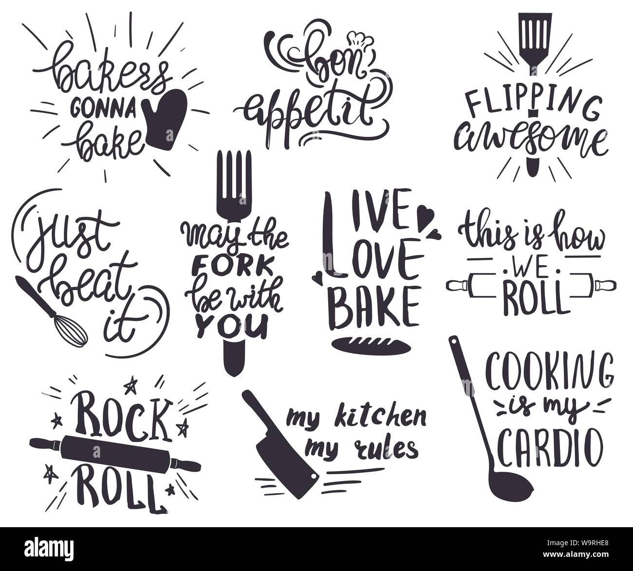 Set Of Hand Drawn Funny Sayings For Kitchen Or Restaurant