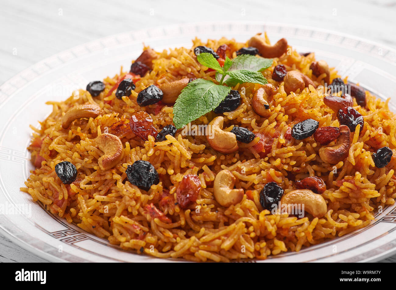 Vegetarian Kabsa Ramadan Food Kabsa Is Traditional Saudi Arabian Cuisine Dish Kabsa Cooks With Basmati Rice Spices Tomatoes Nuts And Raisins Cl Stock Photo Alamy