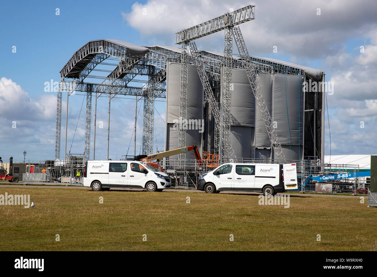 Preparing the stage at Southsea Common for the Victorious Festival at the end of August 2019 Stock Photo