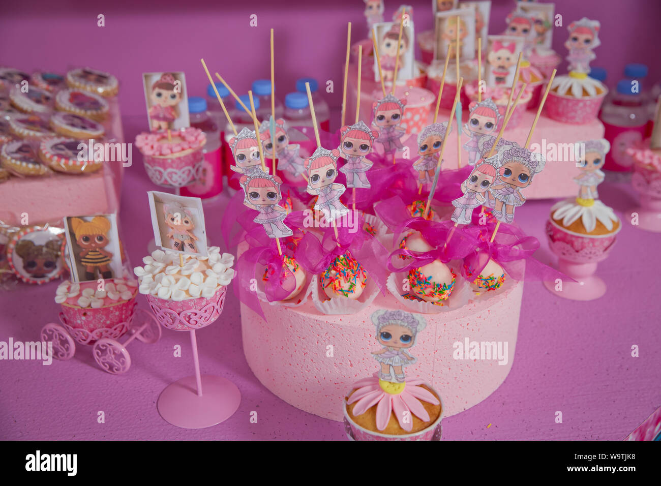Baku Azerbaijan 07 31 2018 Lol Birthday Cake For Girls Pastry Chef Decorates A Cake With Ginger Homemade Gingerbread Style Doll Lol Top View O Stock Photo Alamy