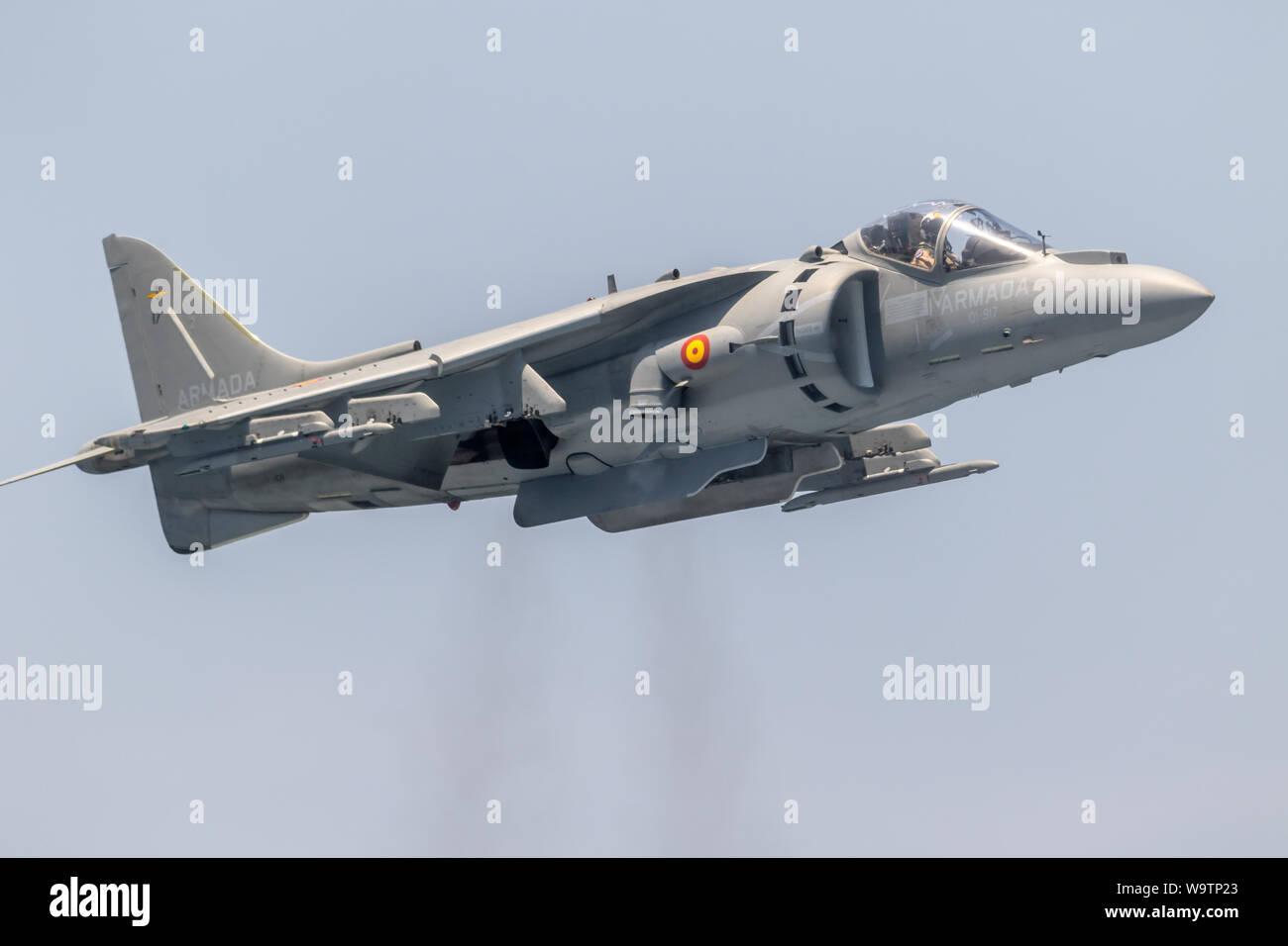 MOTRIL, GRANADA, SPAIN-JUN 11: Aircraft AV-8B Harrier Plus taking part in an exhibition on the 12th international airshow of Motril on Jun 11, 2017, i Stock Photo
