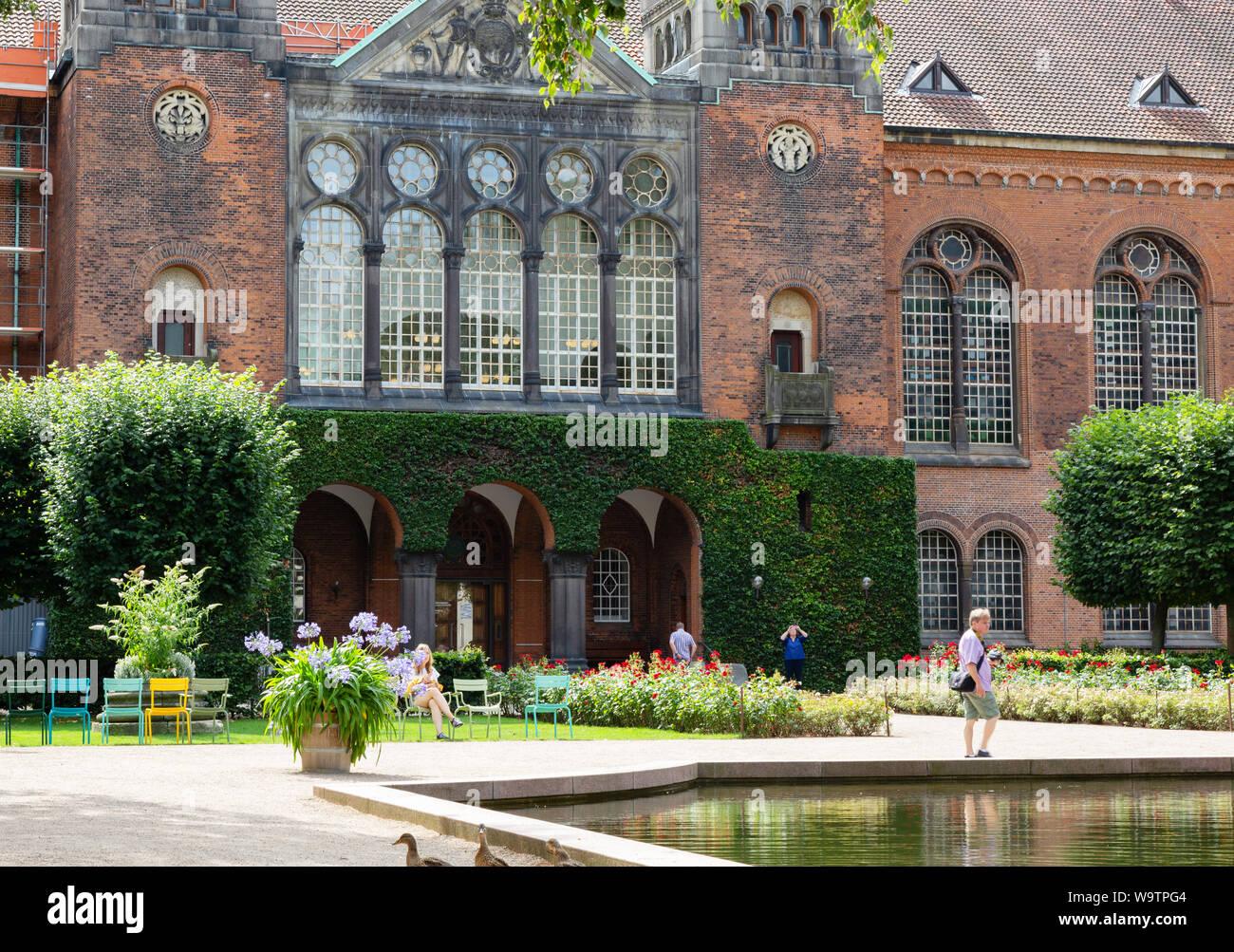 Royal Library Garden, and Royal Danish Library building, Copenhagen Denmark Scandinavia Europe Stock Photo