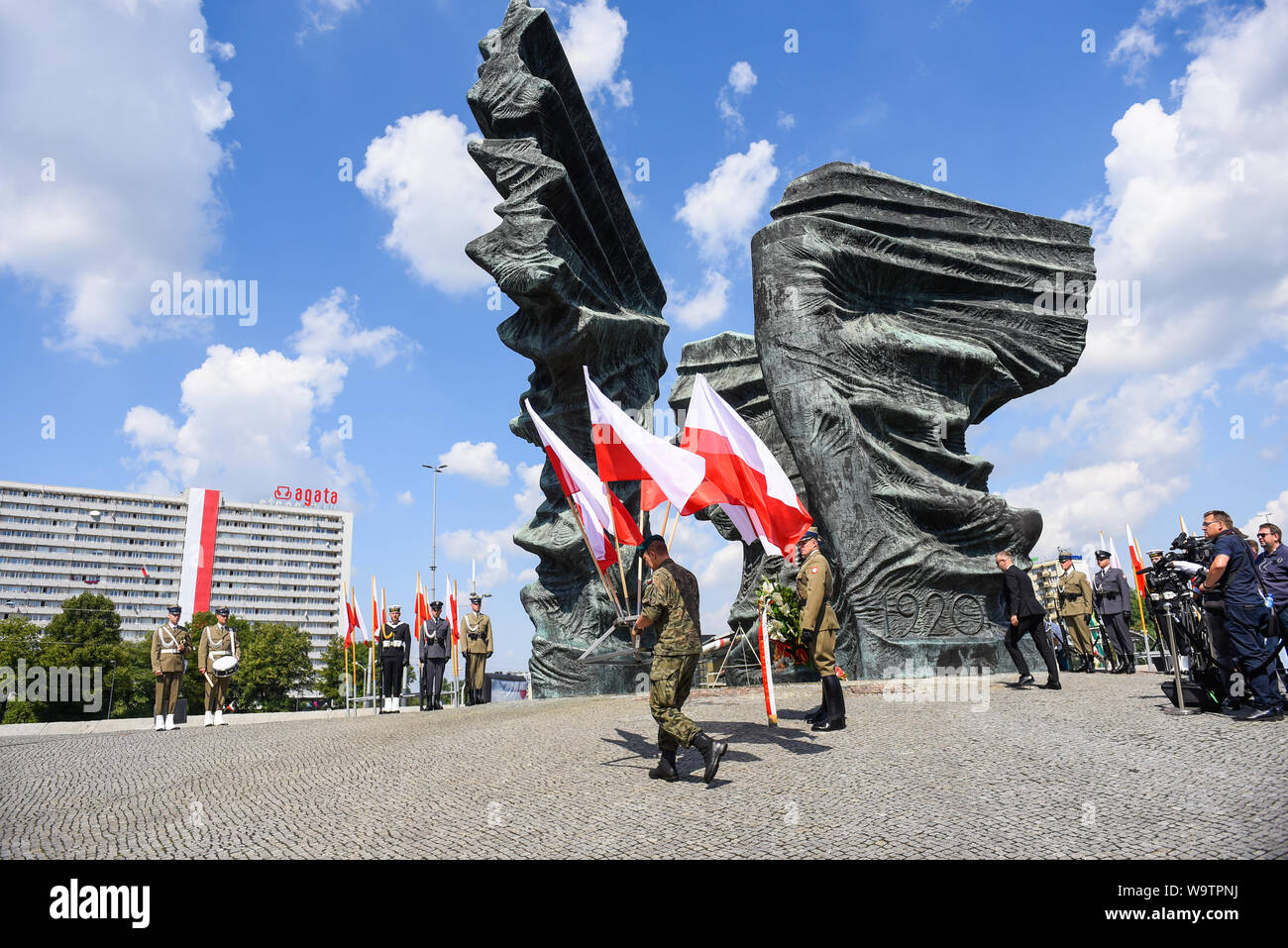 President of Poland, Andrzej Duda, lays  wreath at the Monument of Silesia Insurgents during the event held in Katowice.On the occasion of the Polish Army Day, the 99th anniversary of the Battle of Warsaw and the 100th anniversary of the outbreak of the First Silesian Uprising, for the first time official celebrations took place out of the capital, Warsaw. Stock Photo