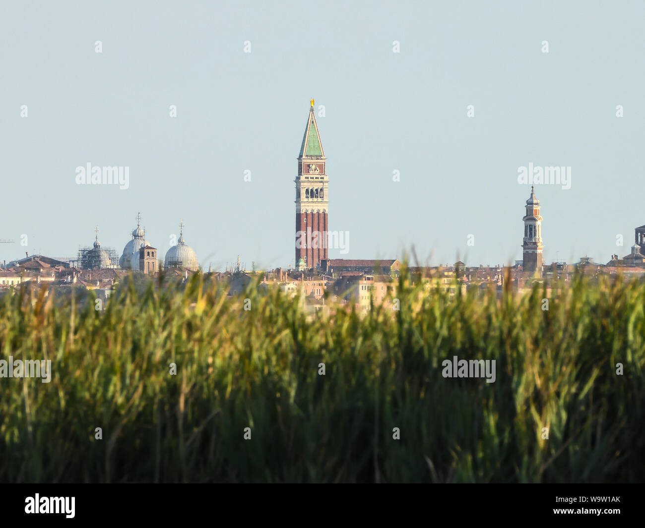 View of San Marco bell tower from Campalto's lagoon venice Italy Stock Photo