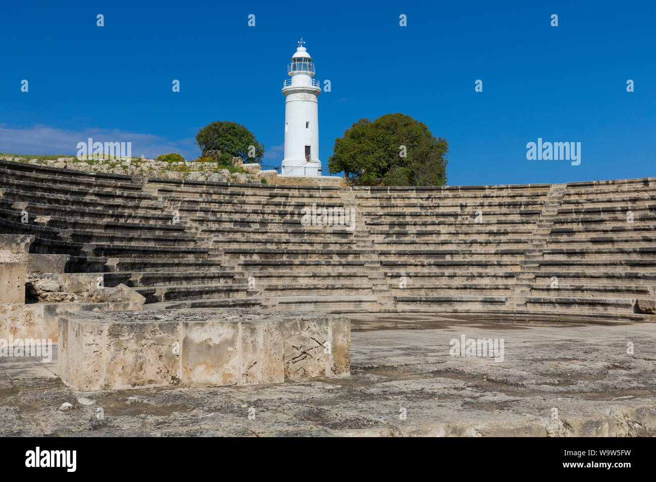 The Odeon and Lighthouse in Kato Pafos Archaeological Park, Paphos, Cyprus Stock Photo
