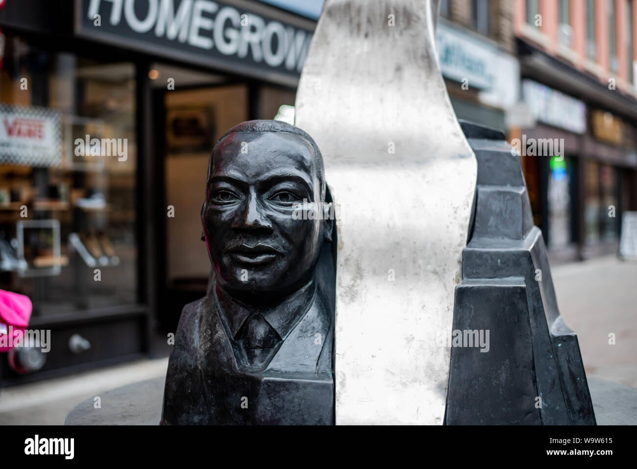 A sculpture of Martin Luther King Jr., in Ithaca, N.Y., USA Stock Photo
