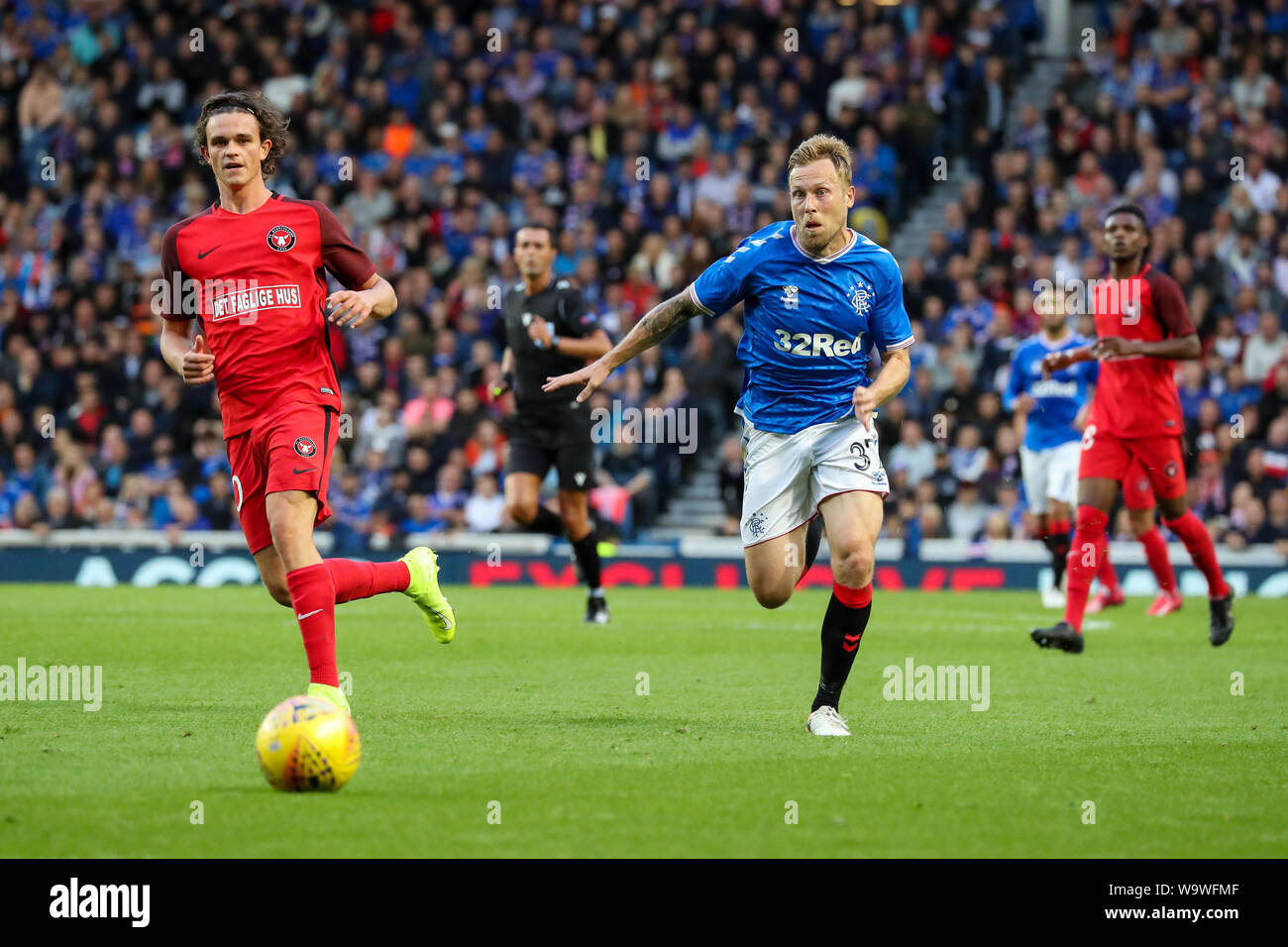 Glasgow, UK. 15th Aug, 2019. The third qualifying round of the UEFA EUROPA LEAGUE 2019/20 between Glasgow Rangers and FC Midtjylland was played at Ibrox stadium, Glasgow the home ground of Rangers who go into this round with a 4 -2 lead. Rangers won 3 -1 to go through to the next round. Credit: Findlay/Alamy Live News Stock Photo