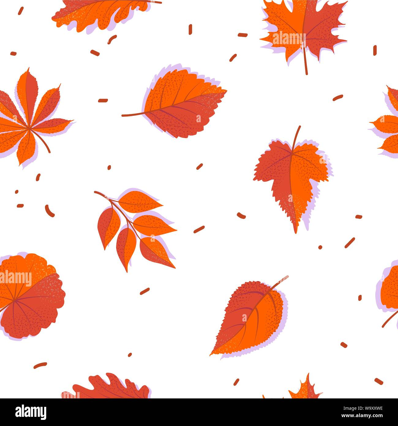 Seamless Forest Pattern With Red Autumn Leaves Flat Fall