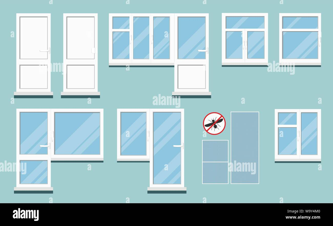Set of isolated white plastic pvc room windows with handle. Stock Vector
