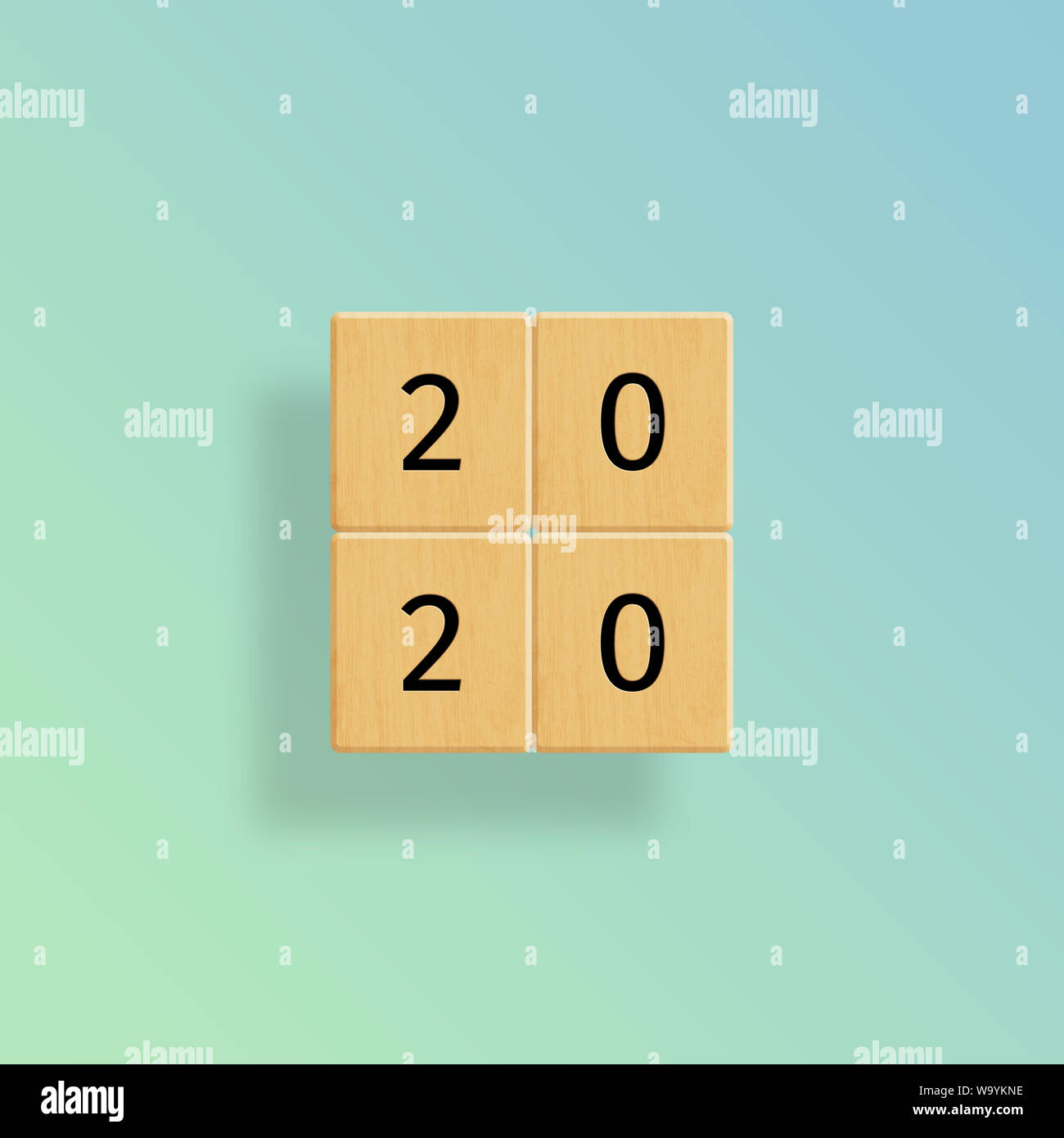 2020 Tiles on Blue to Green Gradient Stock Photo
