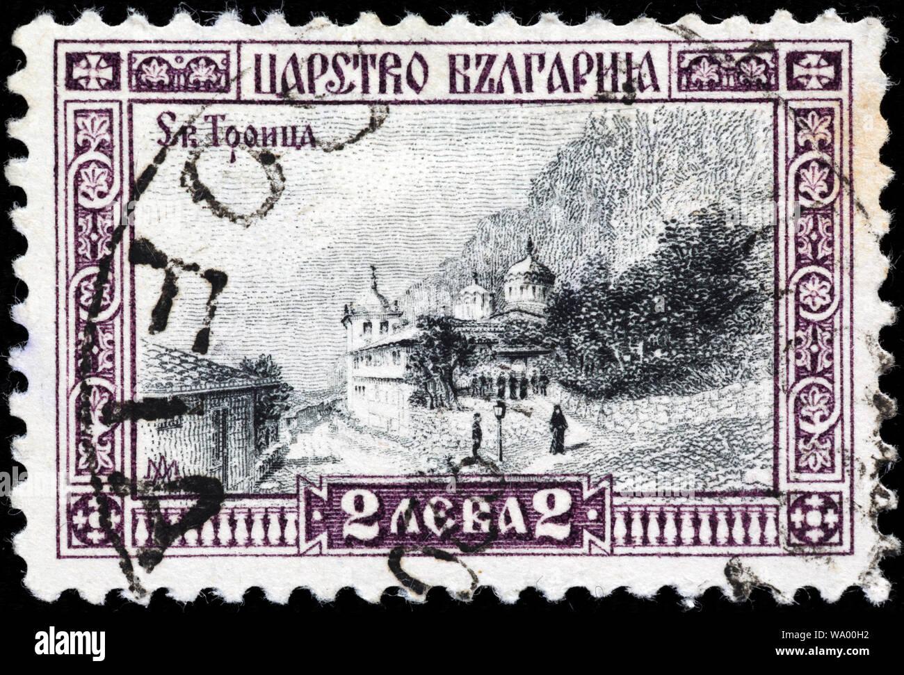Monastery of the Holy Trinity, Troica, Veliko Tarnovo, postage stamp, Bulgaria, 1911 Stock Photo
