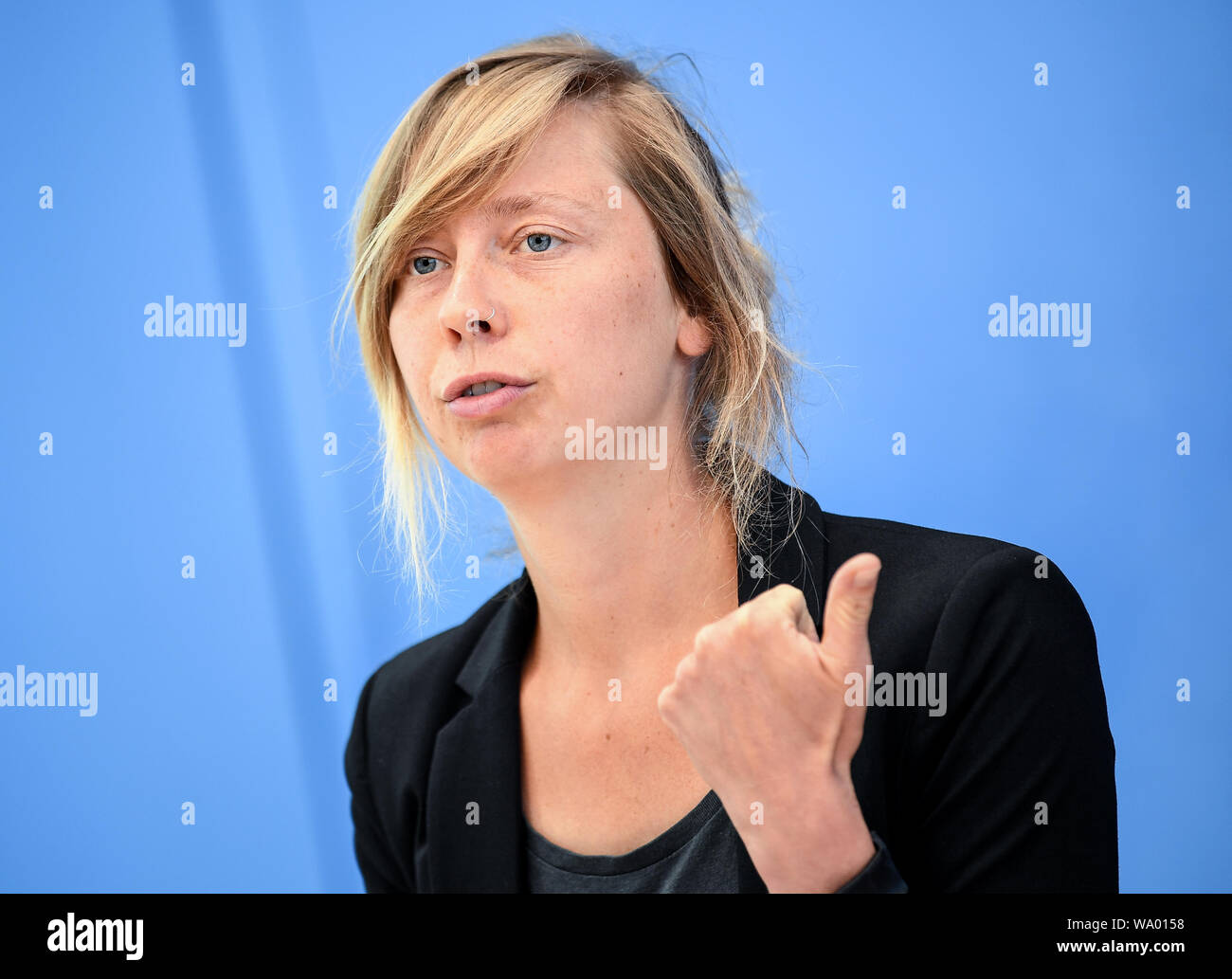 Berlin, Germany. 16th Aug, 2019. Luise Neumann-Cosel, Campact team leader, speaks at a press conference on the urgency of immediate action on climate change. Credit: Britta Pedersen/dpa-Zentralbild/ZB/dpa/Alamy Live News Stock Photo