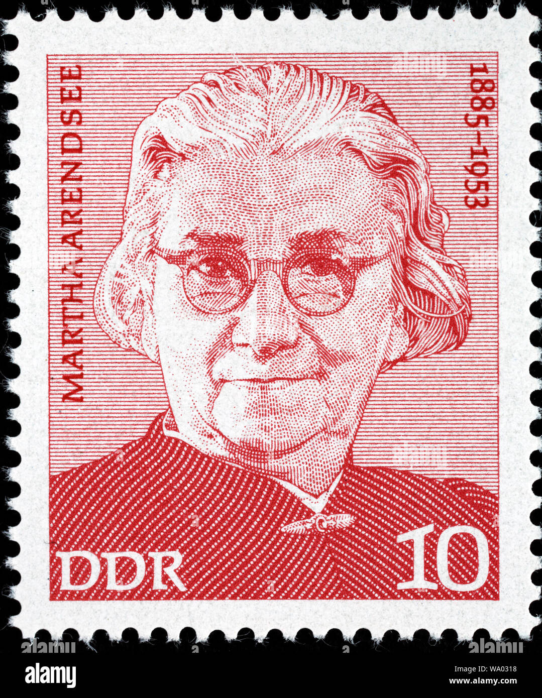Martha Arendsee (1885-1953), postage stamp, Germany, 1975 Stock Photo