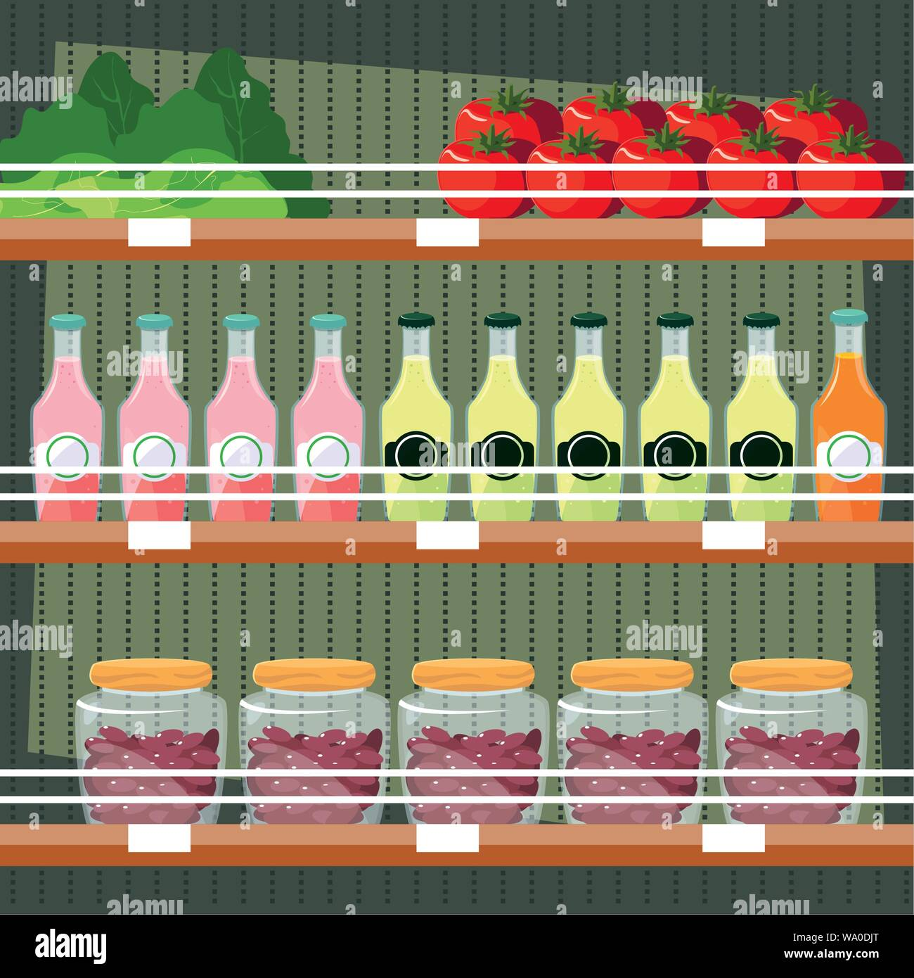 store wooden shelving with juices bottled and fresh foods vector illustration design Stock Vector