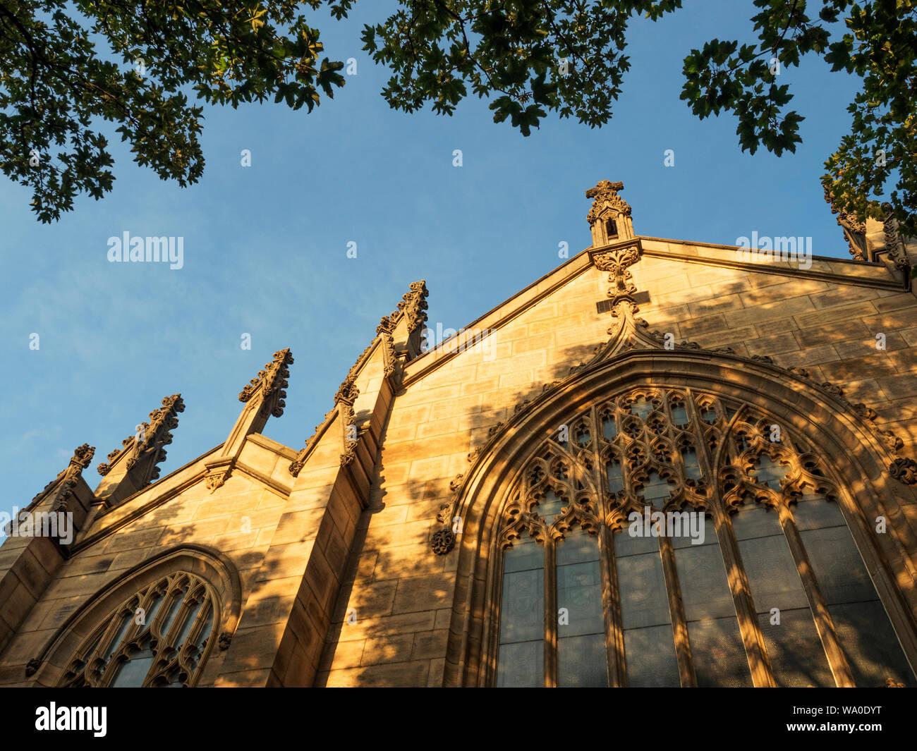 Sunset light illuminating Leeds Minster Kirkgate Leeds West Yorkshire England Stock Photo