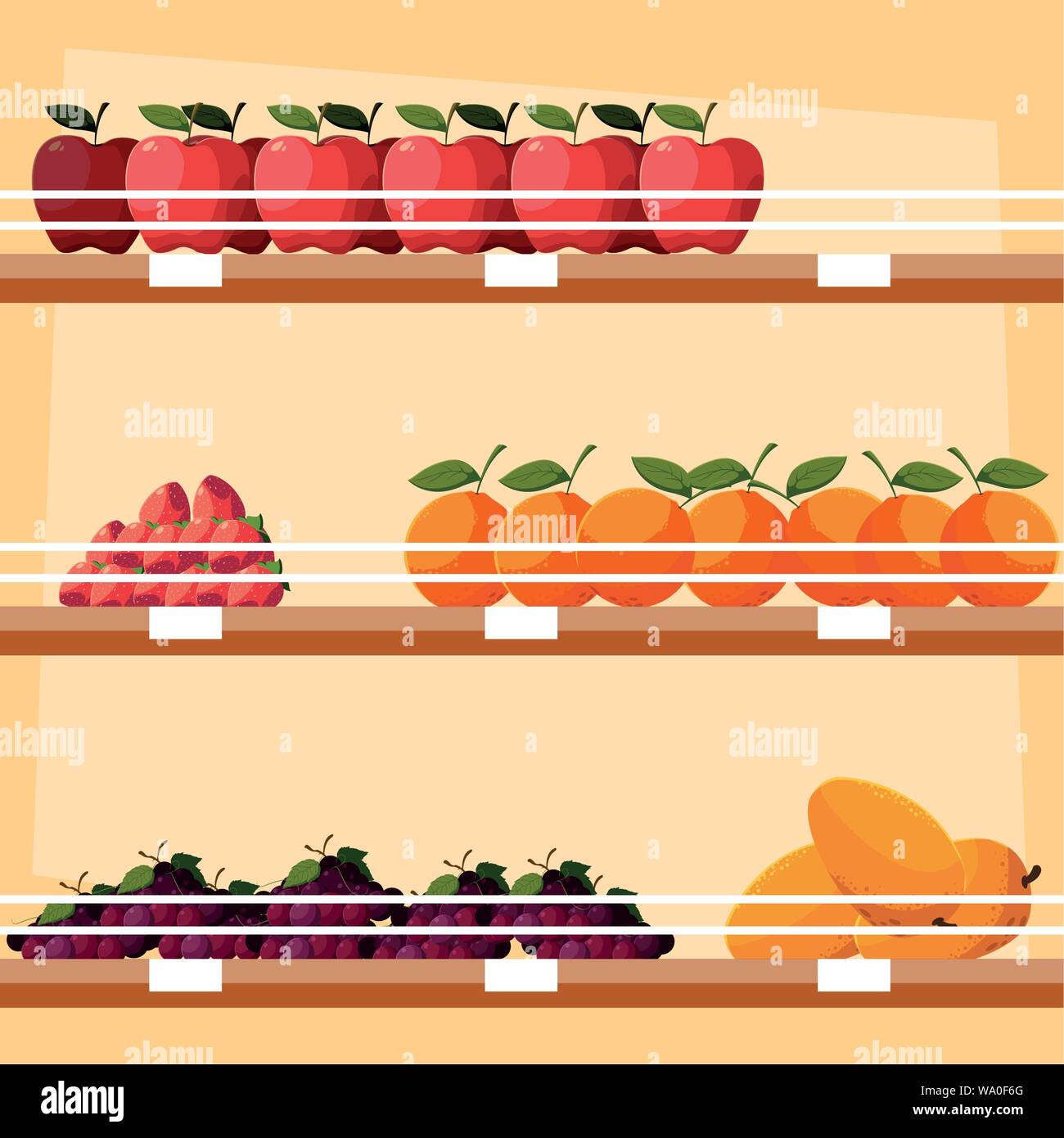 store wooden shelving with fresh fruits vector illustration design Stock Vector