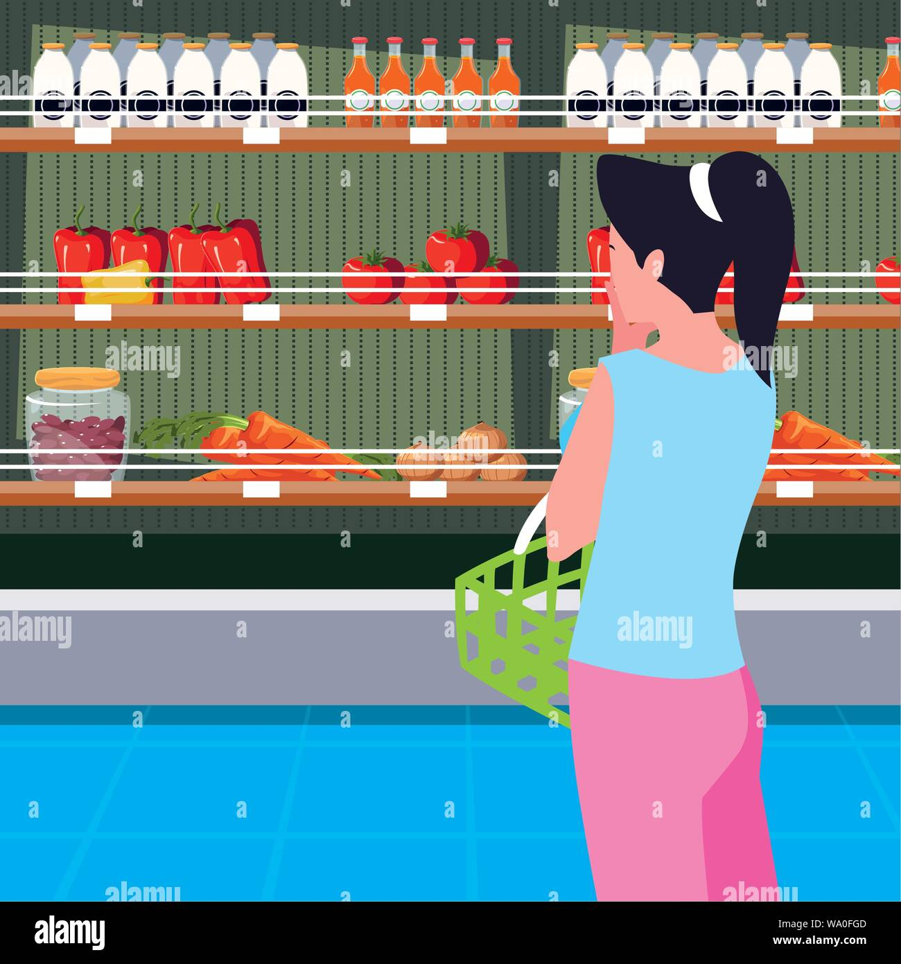 buyer female with store wooden shelving with vegetables vector illustration design Stock Vector