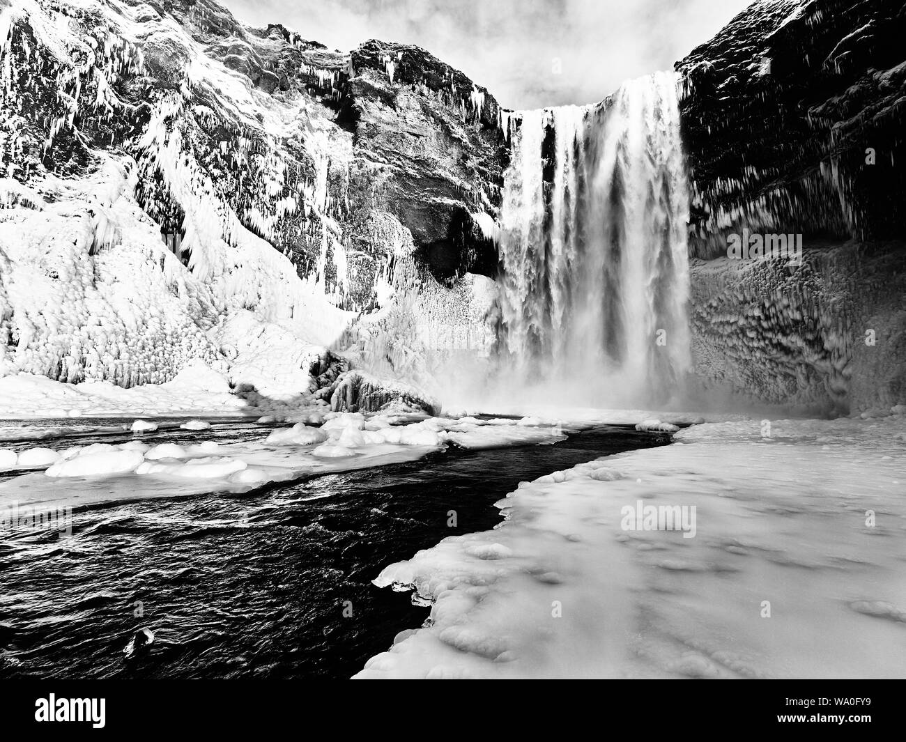 Iceland waterfall in winter Stock Photo