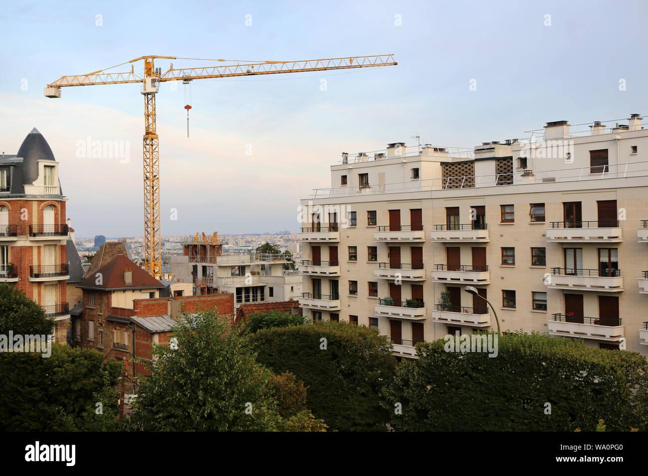 Chantier de construction d'un immeuble. / Construction site of a building. Stock Photo