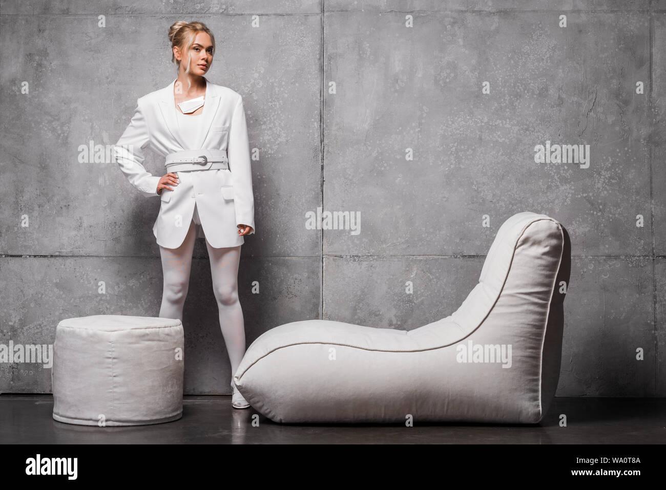 Cool Attractive Blonde Woman Posing With Hand On Hip Near Soft Frankydiablos Diy Chair Ideas Frankydiabloscom