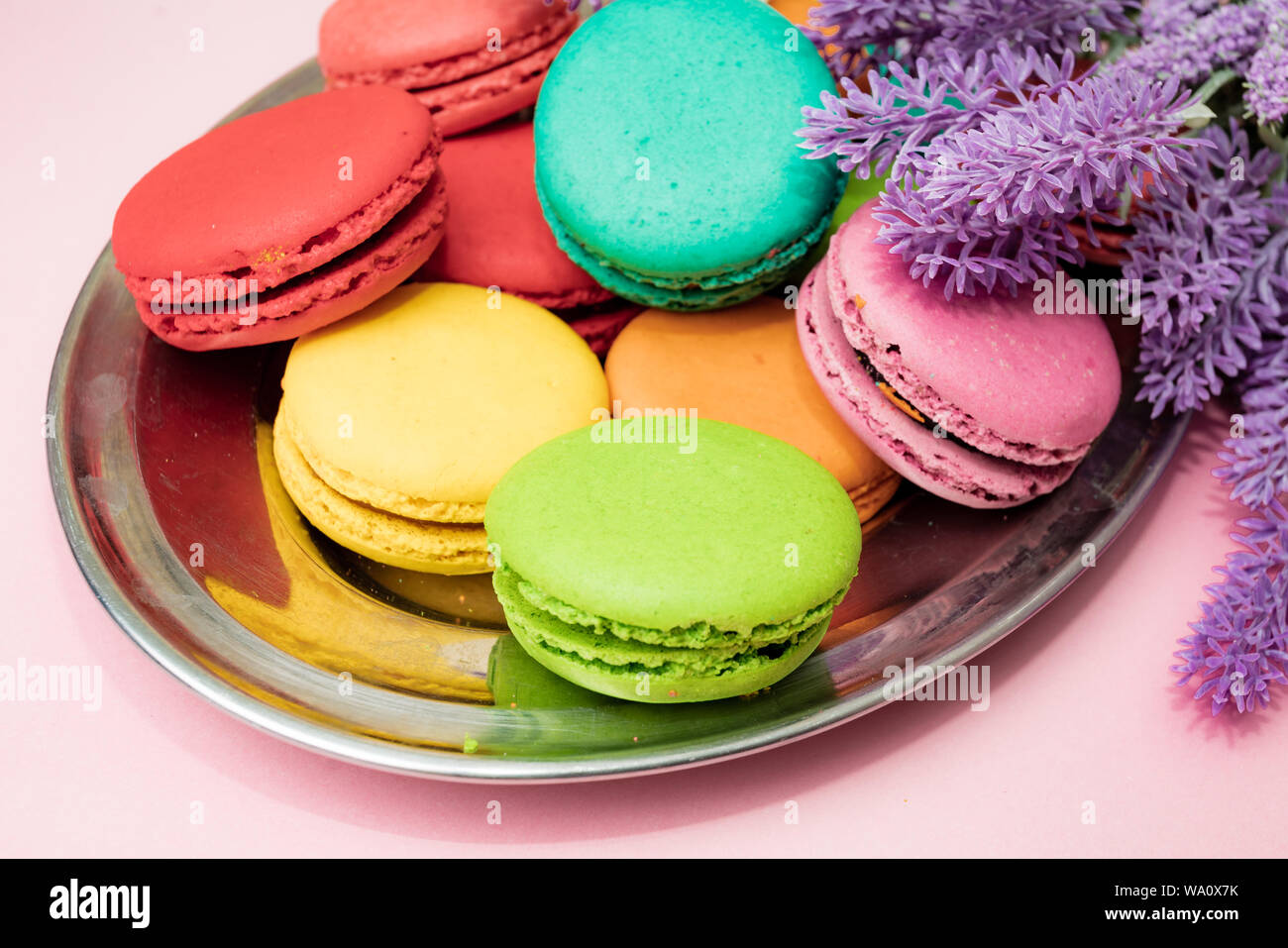 french macaron cakes composition with lavender flowers Stock ...