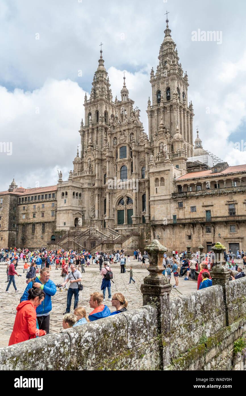 Santiago de Compostela, Spain. august 9, 2019: Santiago de Compostela Cathedral view from Obradoiro square. Cathedral of Saint James, Spain. Galicia, Stock Photo
