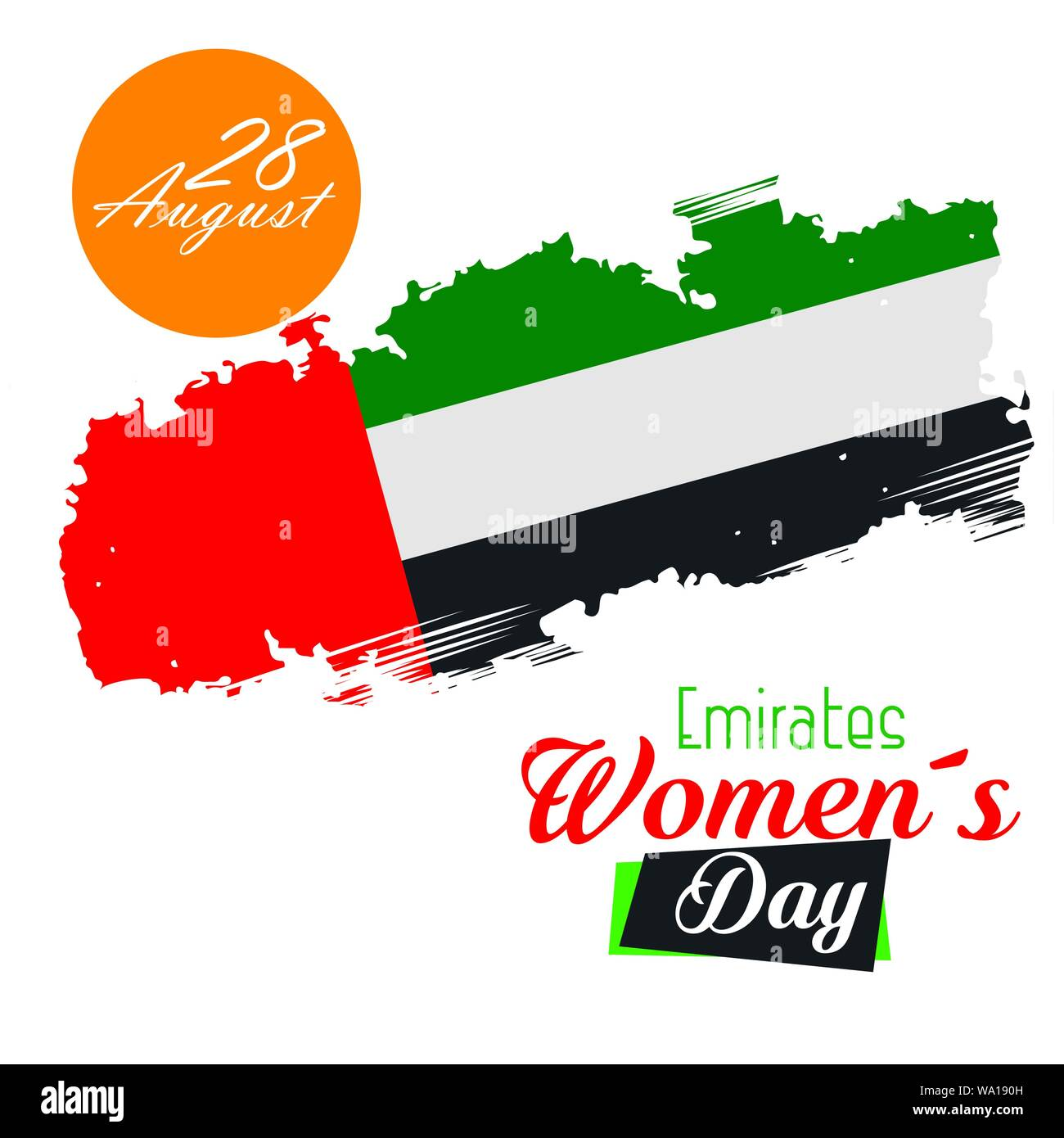 national traditional emirates flag patriotic Stock Vector