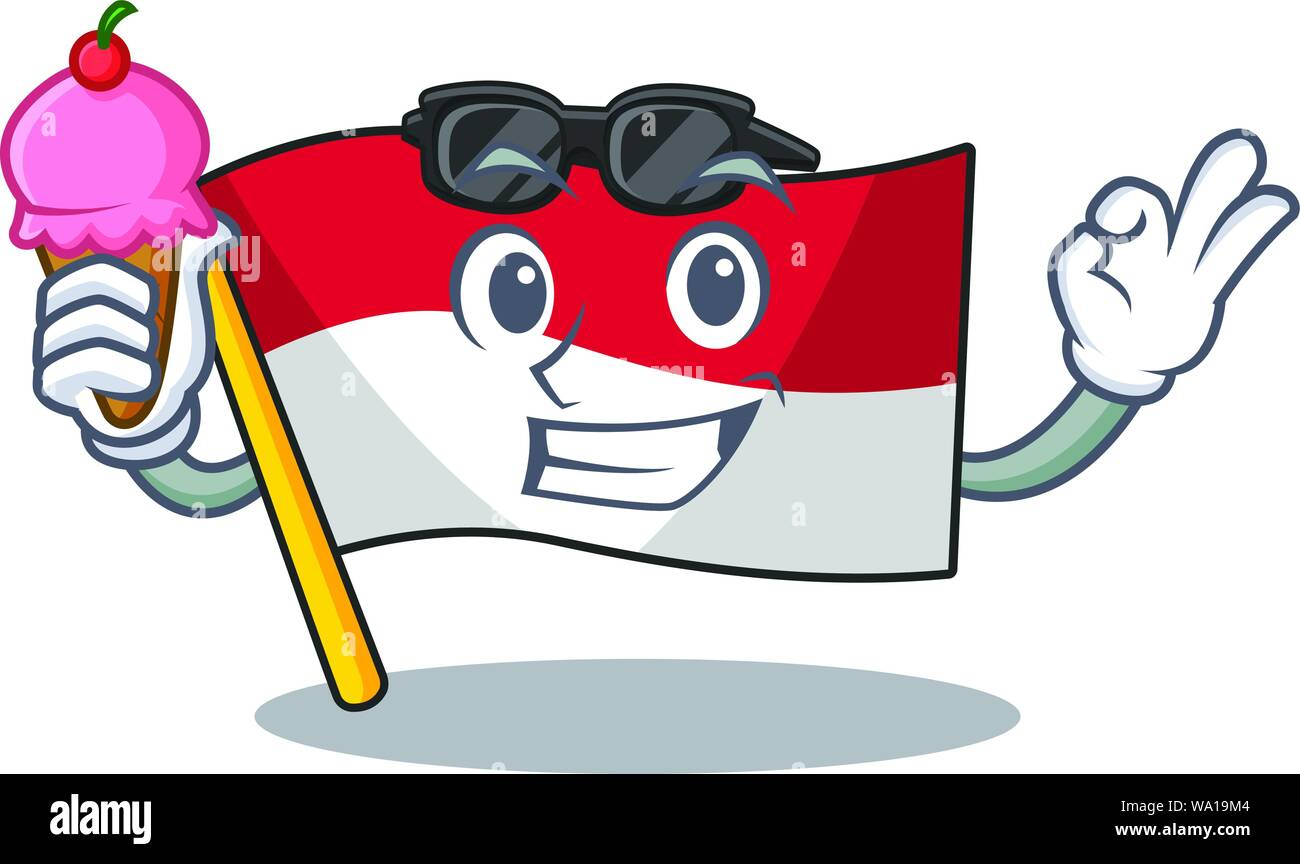 with ice cream flag indonesia hoisted on cartoon poles stock vector art illustration vector image 264331652 alamy alamy